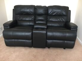 2 seater black leather rocker reclining home cinema sofa with storage/drinks
