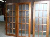 3 Sold oak doors with glass Panels Delivery available