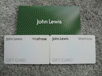 JOHN LEWIS GIFT CARDS £100 ( 2 X £50 )