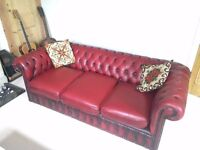 Oxblood 3-seater Chesterfield sofa