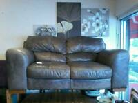 2 tone brown leather 2 seater sofa