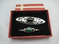 2 x Vintage Silver Stone Set Brooches