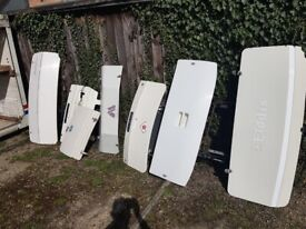 Caravan front and back panels, gas and spare wheel panels.
