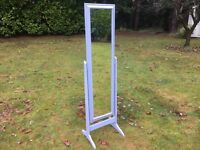 Hand painted Pine Cheval Mirror in French Grey