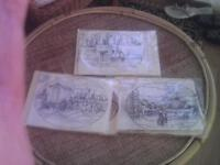 3 new long stitch kits -boats in a harbour,bathing hut,village scene