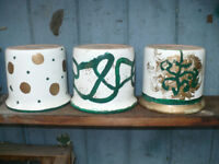 5x original/ OOAK hand painted ceramic plant pots Scheuruch Keramik Pottery. Only 1 was used.