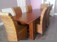 ***WOODEN EXTENDING DINING TABLE & WICKER CHAIRS***