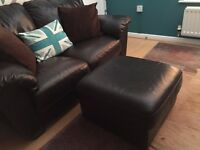 Brown Two-Seater Leather Sofa and matching Foot Stool