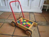 John Lewis Wooden Baby Walker with 24 Wooden Bricks
