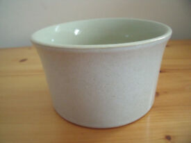 Speckled off white outside/very pale green inside dish. Excellent condition.