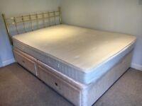 Double Divan Bed, Brass Head Board and Matress