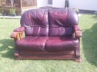 Solid wood 2 seater leather sofa