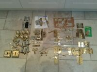 Job lot brass hinges, locks, knobs, switches and extras