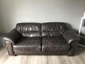 2+3 seater large dark brown sofas