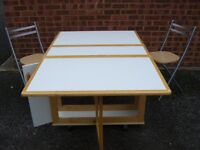 Folding table and two chairs