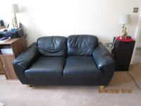 TWO SEATER BLACK LEATHER SOFA VGC