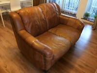 Leather three and two seater sofas (tan color)