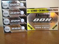 NEW - 24 DUNLOP DDH TOUR DISTANCE GOLF BALLS - BOXED - (Kirkby in Ashfield)