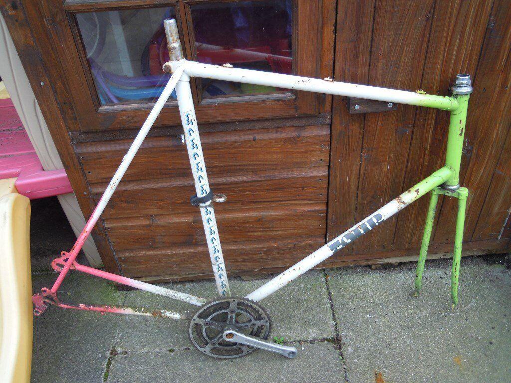 Vintage Road Bike / Fixie Frame and Forks, Steel Racer, Racing Bicycle