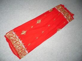 NEW - 3 BEAUTIFUL SAREES - GOLD AND RED, GOLD AND GREEN & SILVER AND BLACK