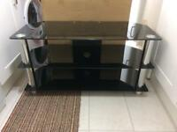 Black glass/chrome tv unit/stand