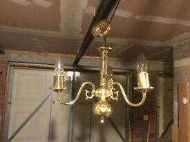 Pendant Ceiling Light, brass effect, candle style