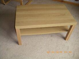 2 Lack coffee tables, Beech and oak veneer