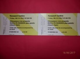 2 MARILYN MANSON TICKETS FOR NEWPORT CENTRE ON 8 DECEMBER 2017 - STANDING