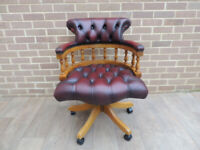 Ox Blood Leather Captains Chesterfield Chair (UIK Delivery)