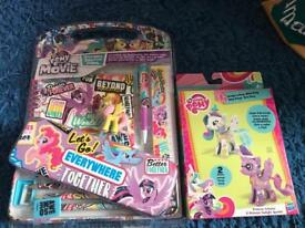 My little pony stationary set and toy set both brand new