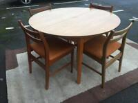 Extendable Teak-wood Dining Table and 6 Chairs