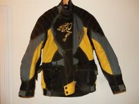 XXL Akito Cougar w ARMOUR and liner Motorcycle Jacket Bike Over Winter Protection Black Yellow