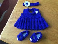 Build A Bear 3 pc Outfit, Hand Knitted, Royal Blue NEW