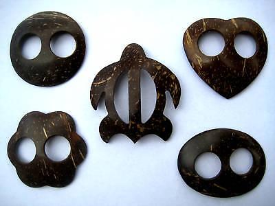 Hawaiian Hand Made Coconut Sarong Buckle Clip ~ Set of 5