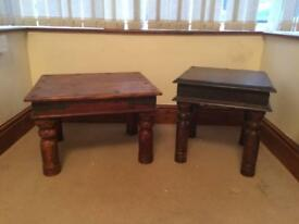 Two wooden heavy duty coffee tables