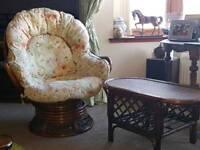 Swivel chair & table