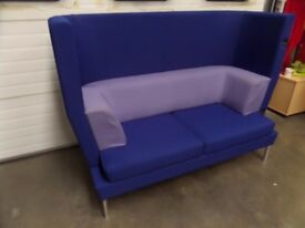 2 SEATER BLUE HIGH BACK SOFA WITH LILAC CUSHIONS