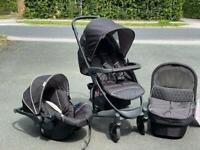 Exdisplay Hauck Malibu travel system pram pushchair car seat in black unisex from birth to 3