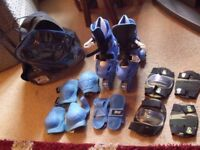 Kids roller boots - complete with pads, helmet and bag