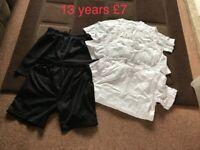 School Pe kit 13 years 3 T-shirt's £1 each 2 pairs of shorts £2 each