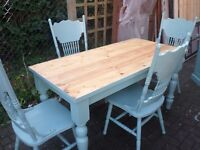 PINE PAINTED KITCHEN TABLE 5ftX3 FT AND 4 CHAIRS+PINE SIDEBOARD CUPBOARD