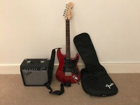 Fender squier strat guitar and 15g amp