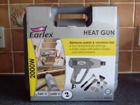 BRAND NEW QUALITY HEATGUN COMPLETE WITH NOZZLES + ATTACHMENTS AND CARRY CASE .