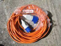 20 metre Caravan and Motorhome 2.5mm² Mains Hook Up Site Lead with blue mains plugs