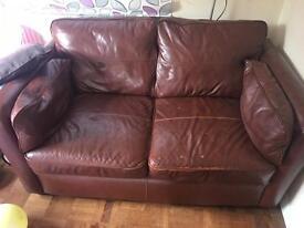 Faux leather 2 seater sofa