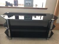 Black and chrome tv/ stereo unit