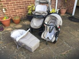 Excellent condition, car seat and carry cot never used, spotlessly clean