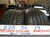 MATCHING PAIR 225 35 19 bridgestone runflats 8mm tread £90 PAIR SUPP & FITD (loads more av} TXT S