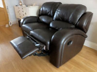 Stylish Leather Recliner Sofas (Dark Brown)