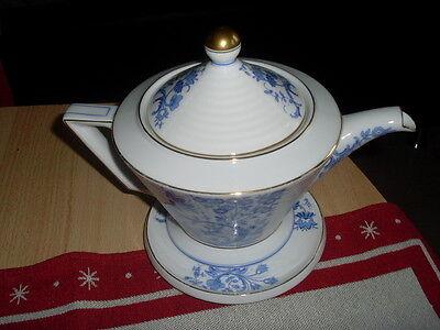 """Art """"Deco"""" Heinrich Selb Bavaria 1 Teekanne mit Kannenuntersetzer Lumina blau"""